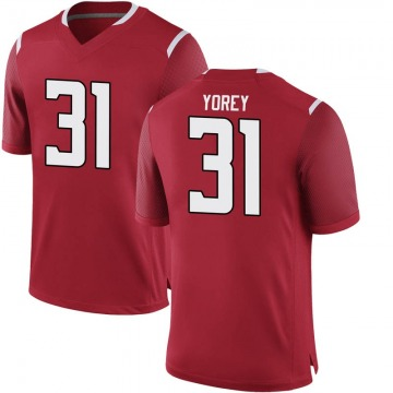 Men's Johnny Yorey Rutgers Scarlet Knights Game Scarlet Football College Jersey