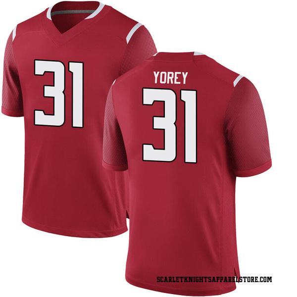 Men's Johnny Yorey Rutgers Scarlet Knights Nike Game Scarlet Football College Jersey