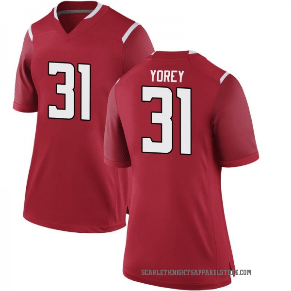 Women's Johnny Yorey Rutgers Scarlet Knights Nike Game Scarlet Football College Jersey