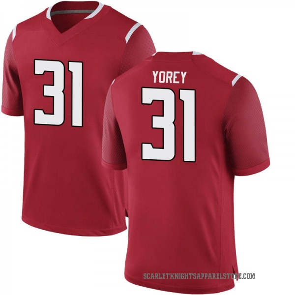 Youth Johnny Yorey Rutgers Scarlet Knights Nike Game Scarlet Football College Jersey